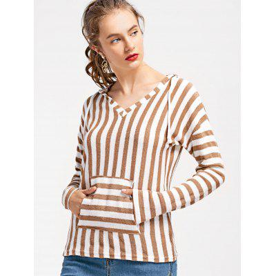 Striped Hooded Knitted Top