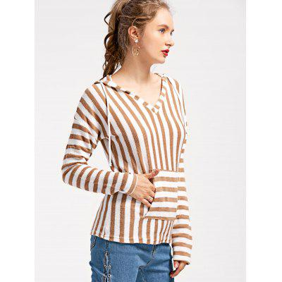 Front Pocket Striped Hooded Knit TopSweaters &amp; Cardigans<br>Front Pocket Striped Hooded Knit Top<br><br>Collar: Hooded<br>Material: Polyester<br>Package Contents: 1 x Knitwear<br>Sleeve Length: Full<br>Style: Casual<br>Type: Pullovers<br>Weight: 0.2900kg