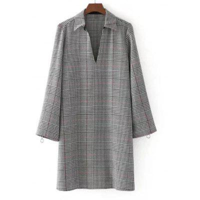 Checked Zippered Long Sleeve Casual Dress