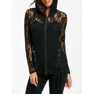 Lace Up Sheer Lace Hoodie com Tank Top