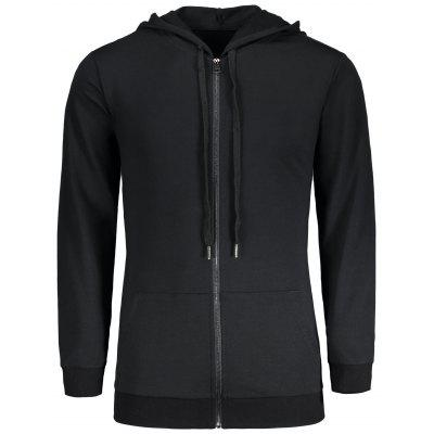 Zip Up Kangaroo Pocket Longline Hoodie