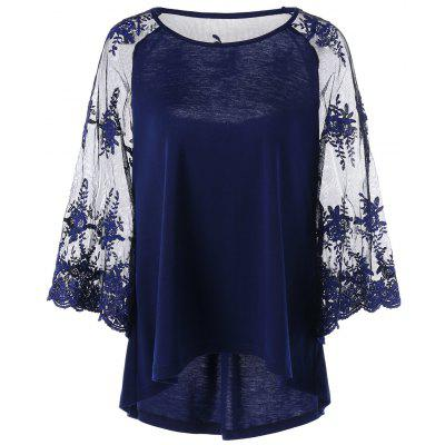 Sheer Lace Trim Raglan Sleeve Top