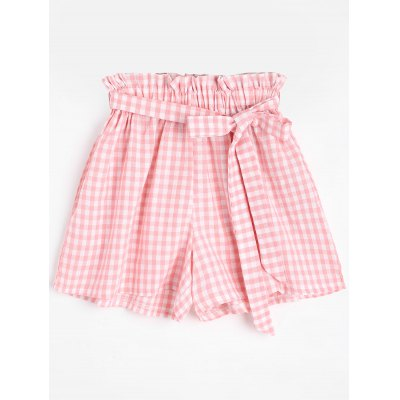 Smocked Checked Shorts with Belt