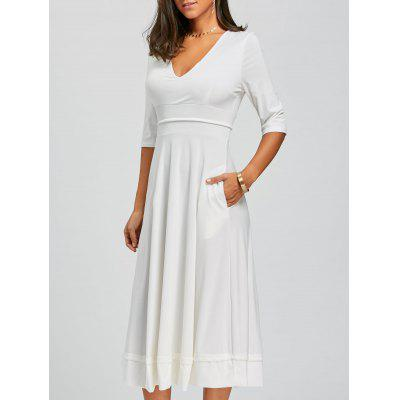 Buy V Neck Fit and Flare Midi Dress, WHITE, S, Apparel, Women's Clothing, Women's Dresses, Maxi Dresses for $33.50 in GearBest store