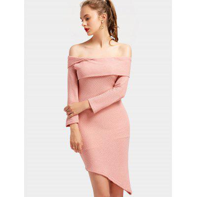 Off The Shoulder Asymmetrical Knitted Dress