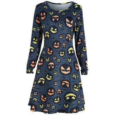 Halloween Pumpkin Print Uma Line Tunic Dress
