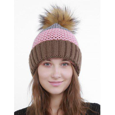 Outdoor Crochet Flanging Pom Knitting Hat