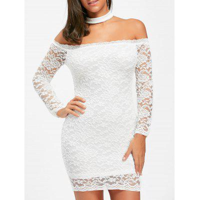 Off The Shoulder Lace Choker Bodycon Dress