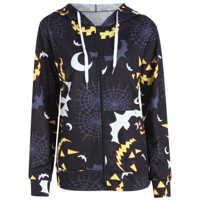 Más tamaño Halloween Bat Pumpkin Impreso Zip Hooded Jacket