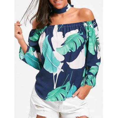 Off The Shoulder Leaves Printed Blouse