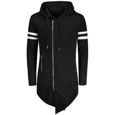 Varsity Stripe Zip Up Long Asymmetrical Hoodie