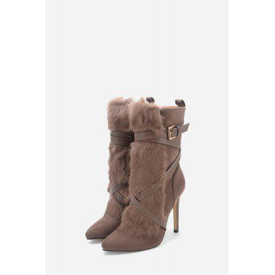 Super High Heel Faux Fur Ankle Boots