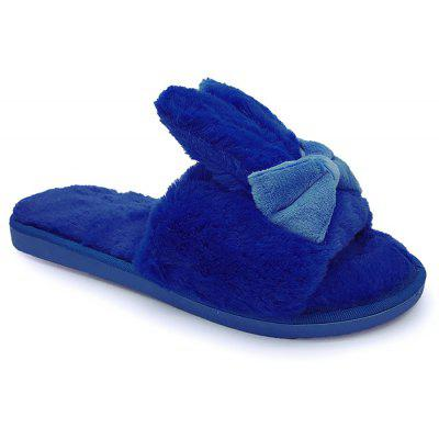 Bowknot Open Toe House Fluffy Slippers