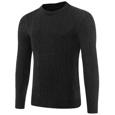 Space Dye Cable Knit Crew Neck Sweater