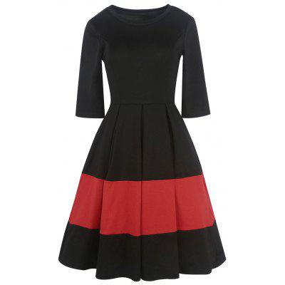 Zwei Tone Vintage Pleated A Line Kleid