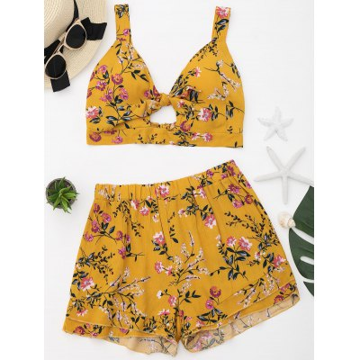 Floral Cut Out Top with Shorts Set