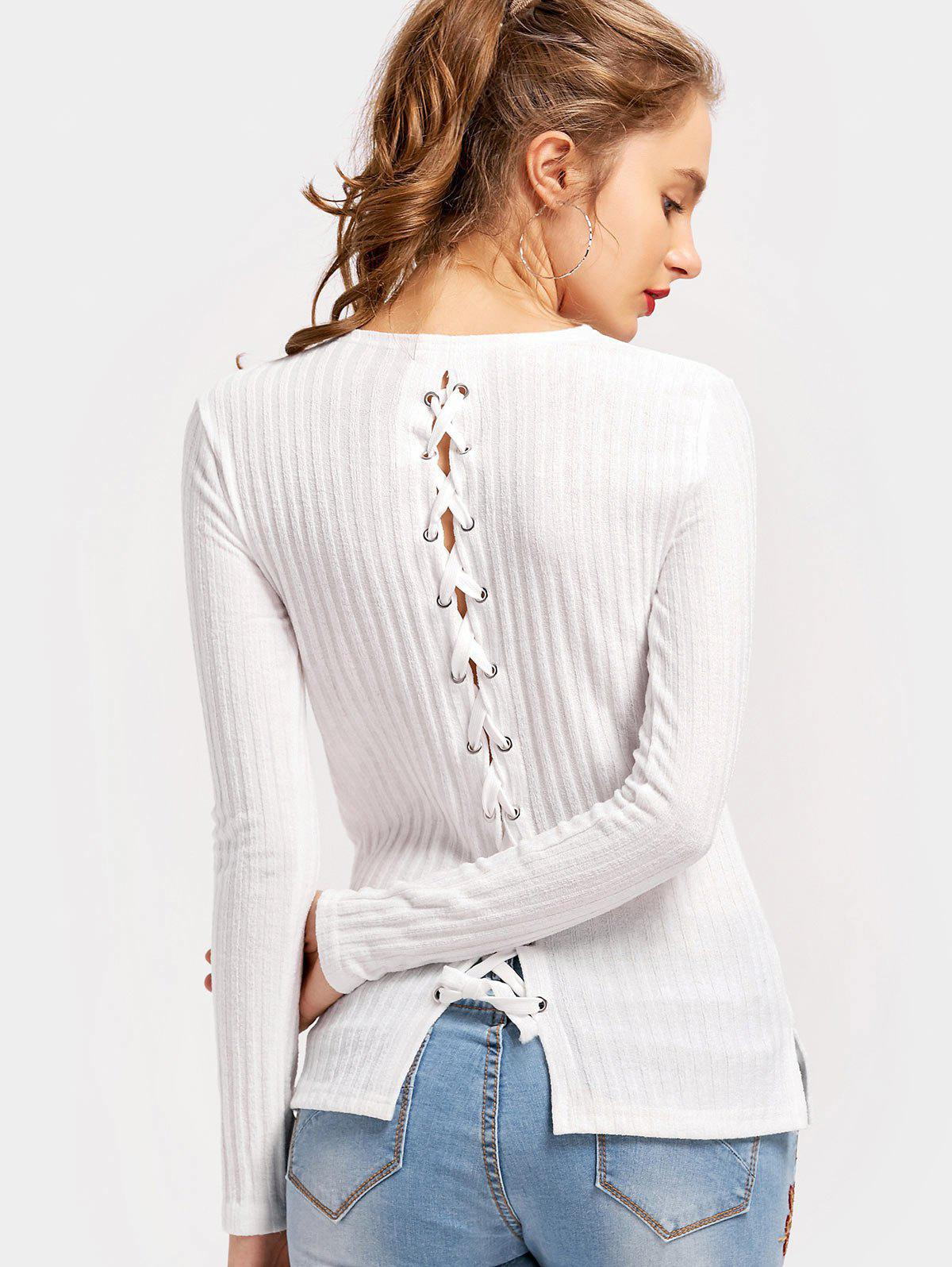 Lace Up Ribbed Side Slit Knit Top