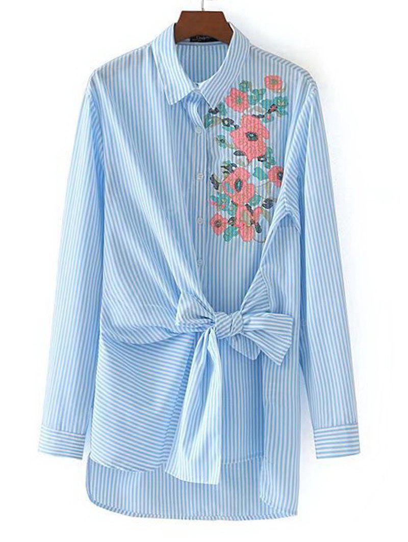 Stripes Floral Embroidered Bowknot Shirt
