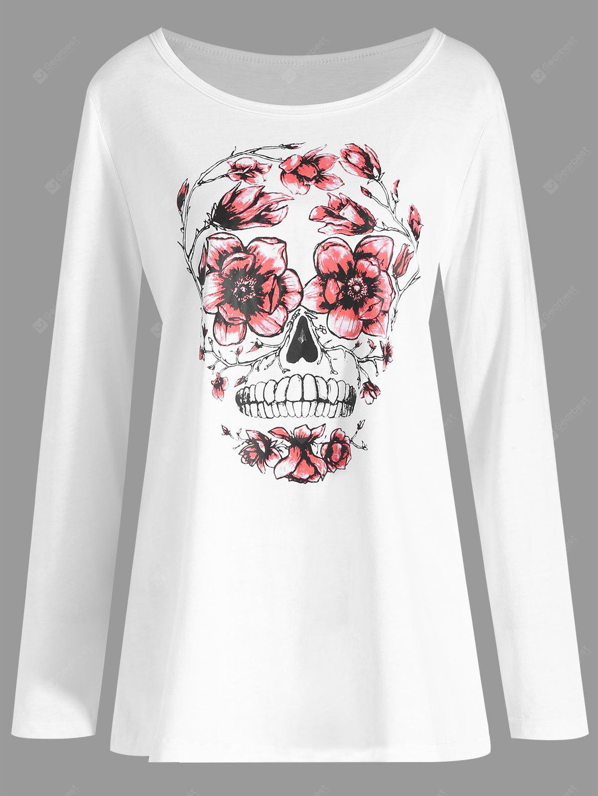 Plus Size Halloween Skull Floral Print T-shirt