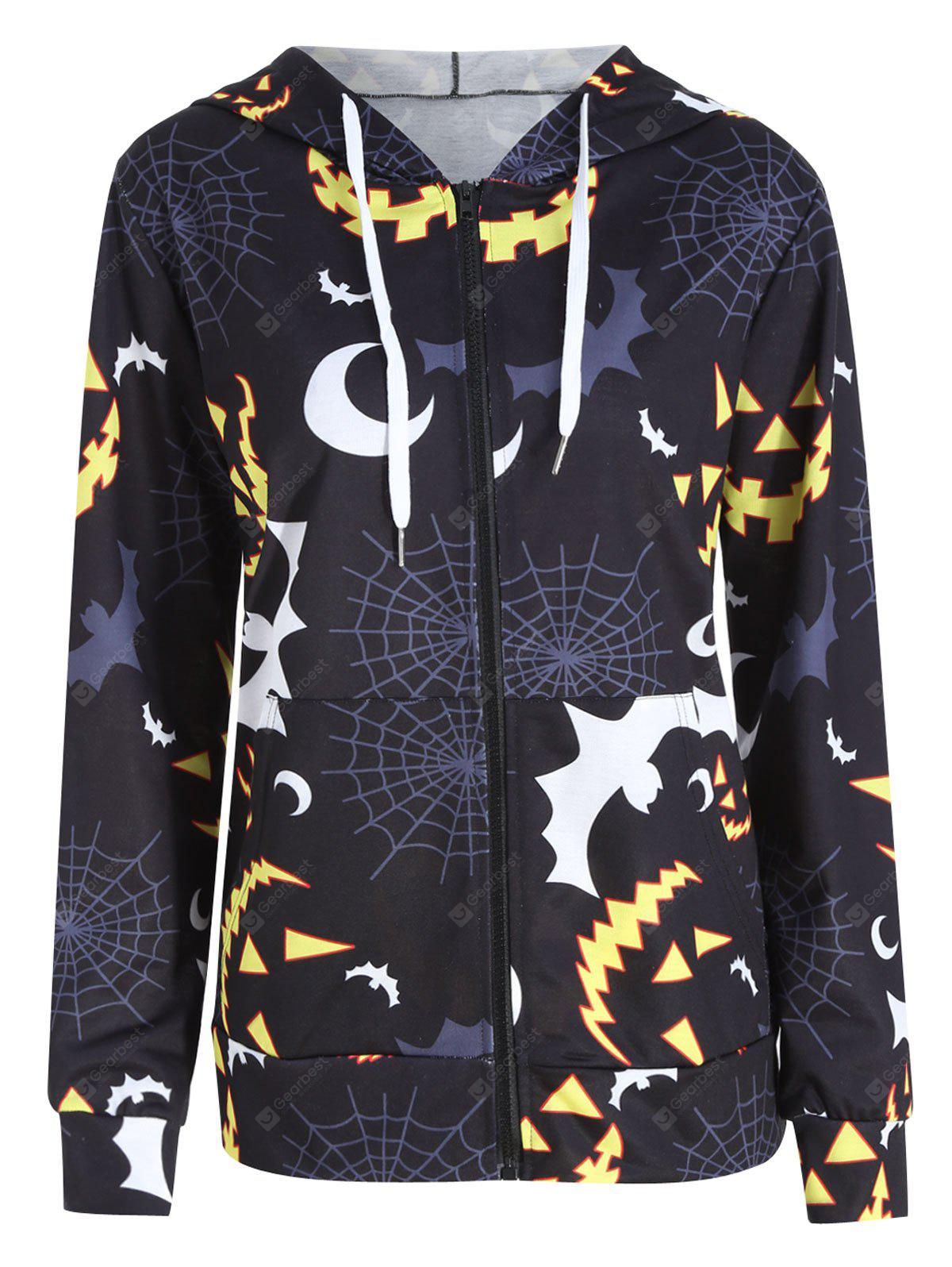 Plus Size Halloween Bat Pumpkin Printed Zip Hooded Jacket