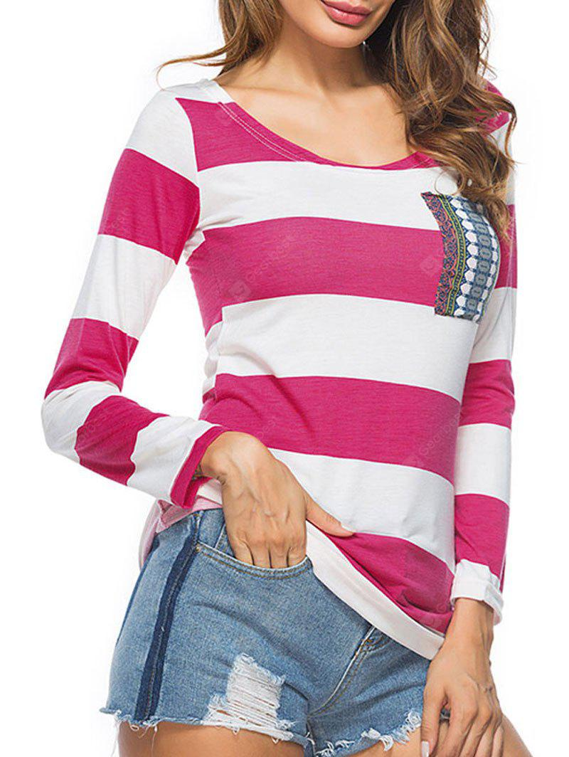 Striped Color Block Pocket T-shirt