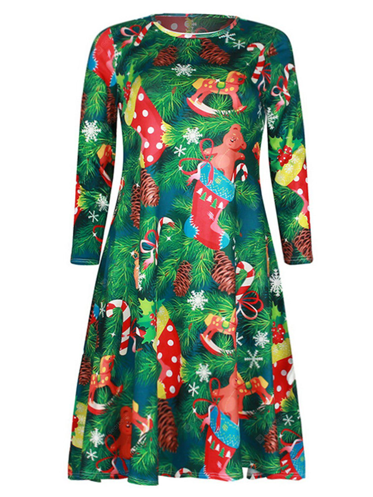 Christams Gifts and Tree Print Swing Dress