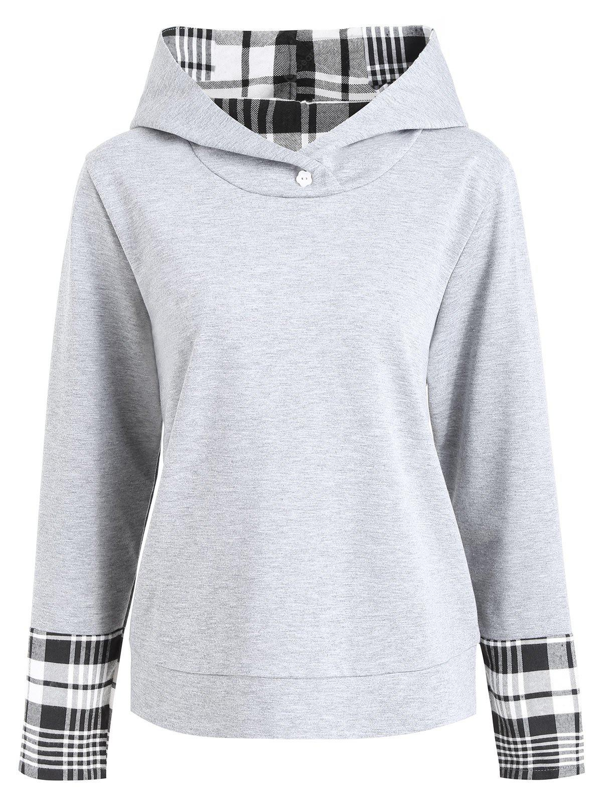 Plus Size Plaid Panel Hoodie