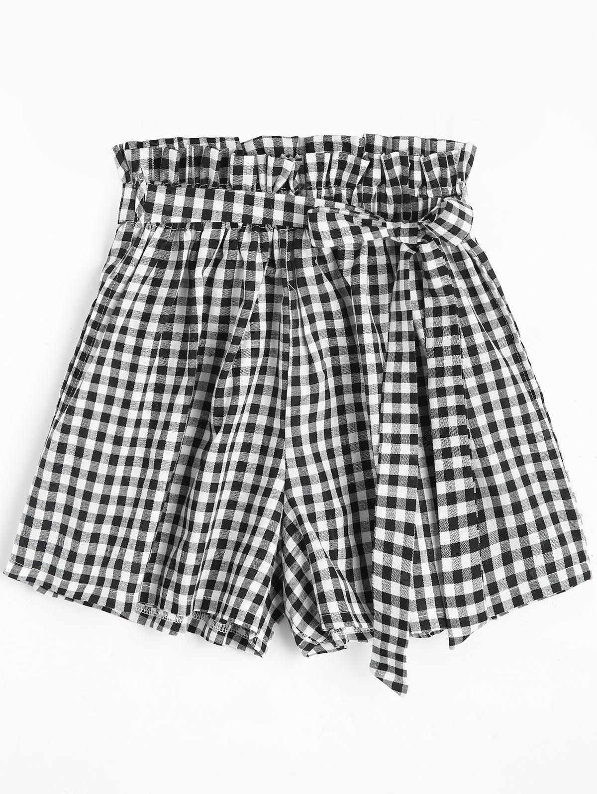 Pockets Plaid Shorts with Belt