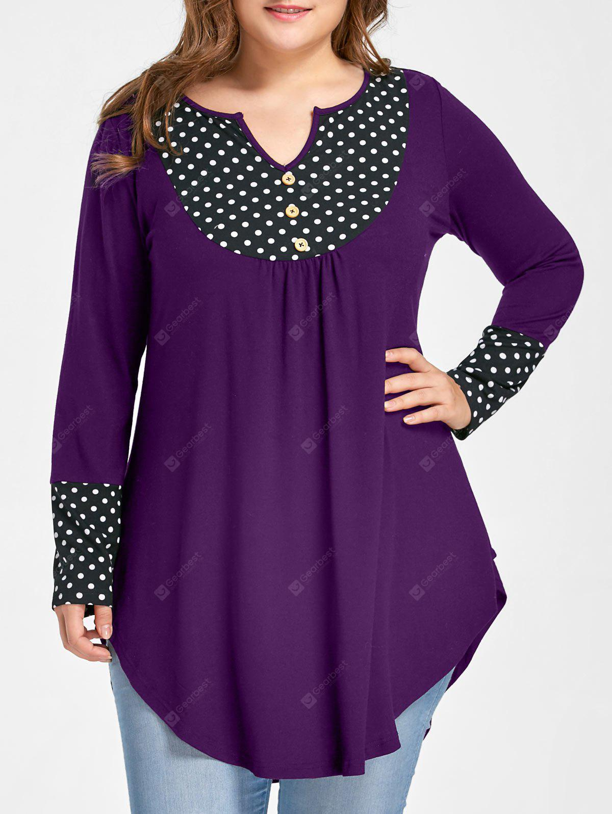 Plus Size Polka Dot Curved Tunic Top