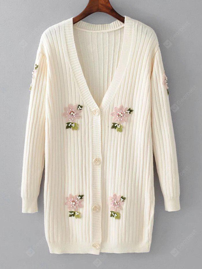 Floral Applique Beaded Button Up Cardigan