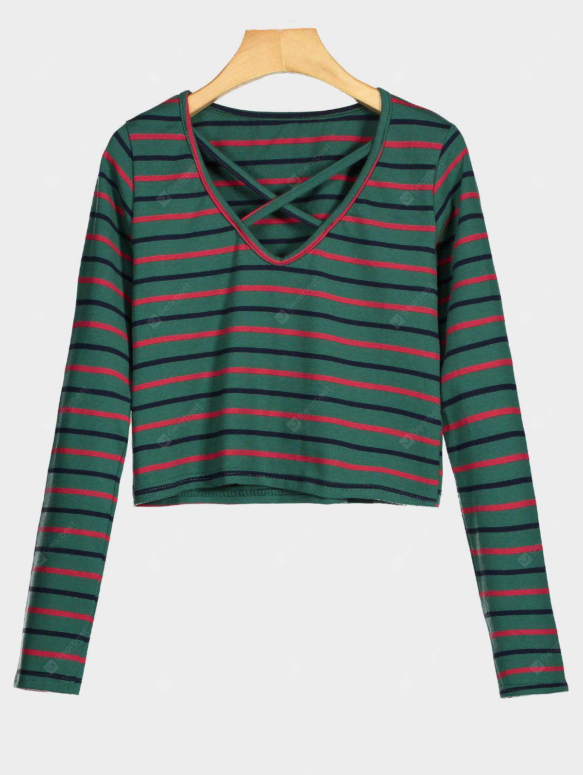V Neck Striped Cropped Tee