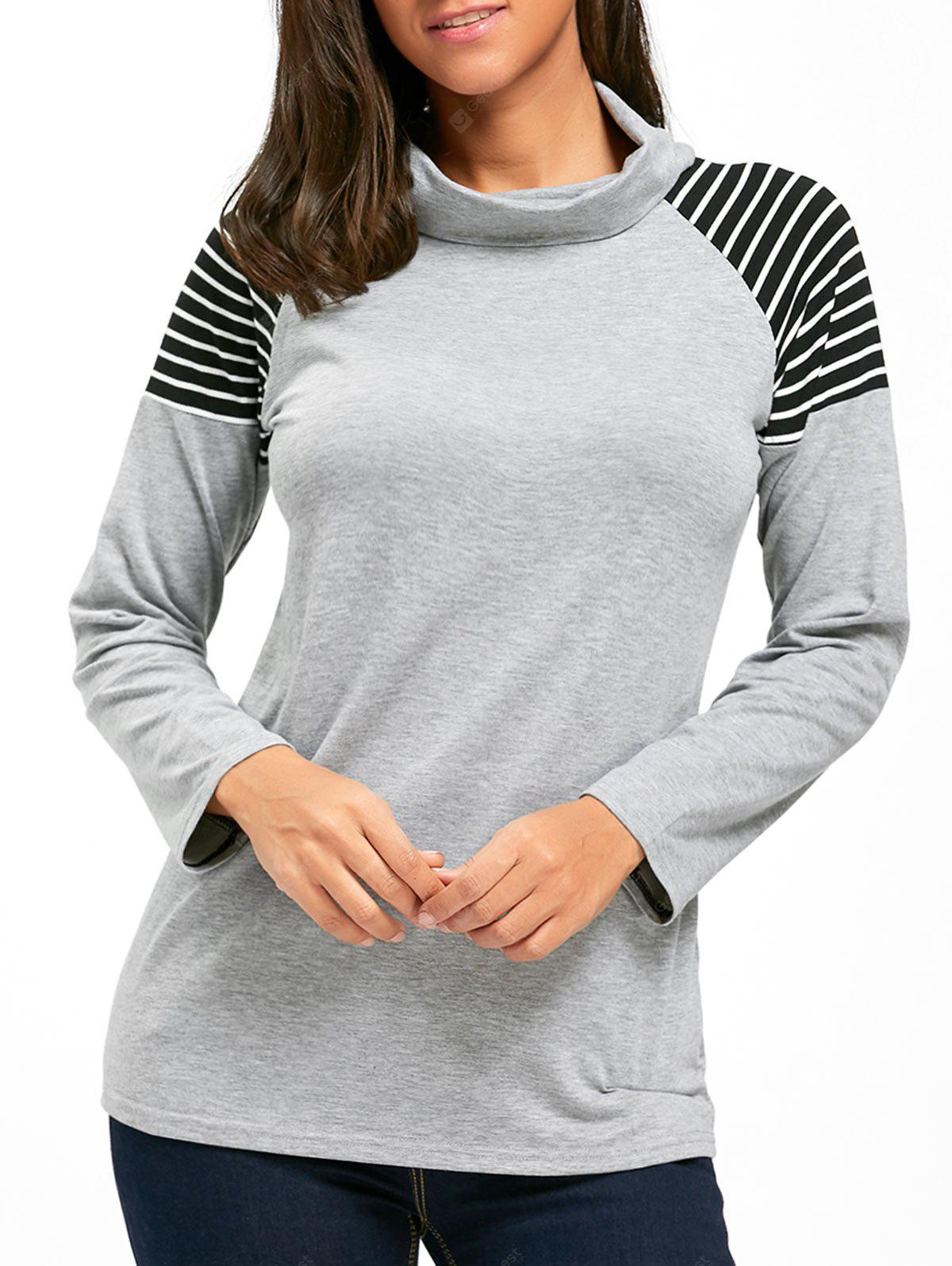 Cowl Neck Striped Long Sleeve Tunic Top