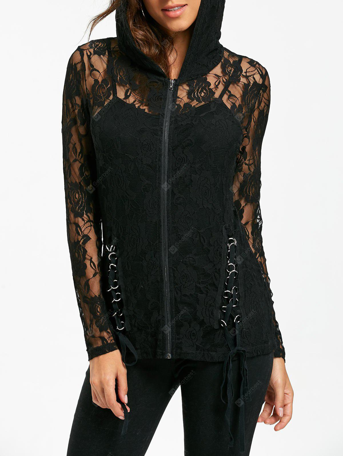 Lace Up Sheer Lace Hoodie mit Tank Top