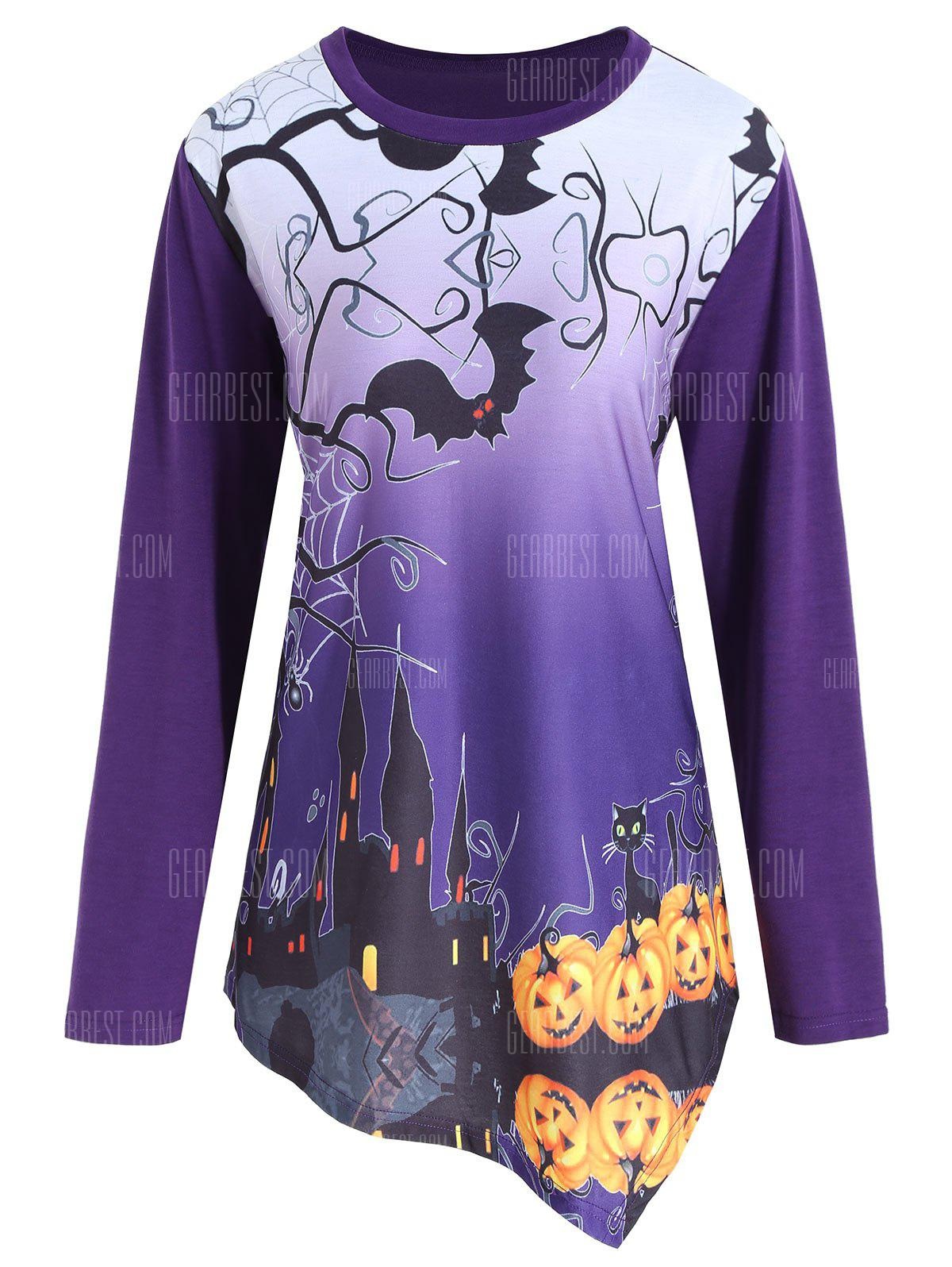 Plus Size Halloween Pumpkin Asymmetrical Tee