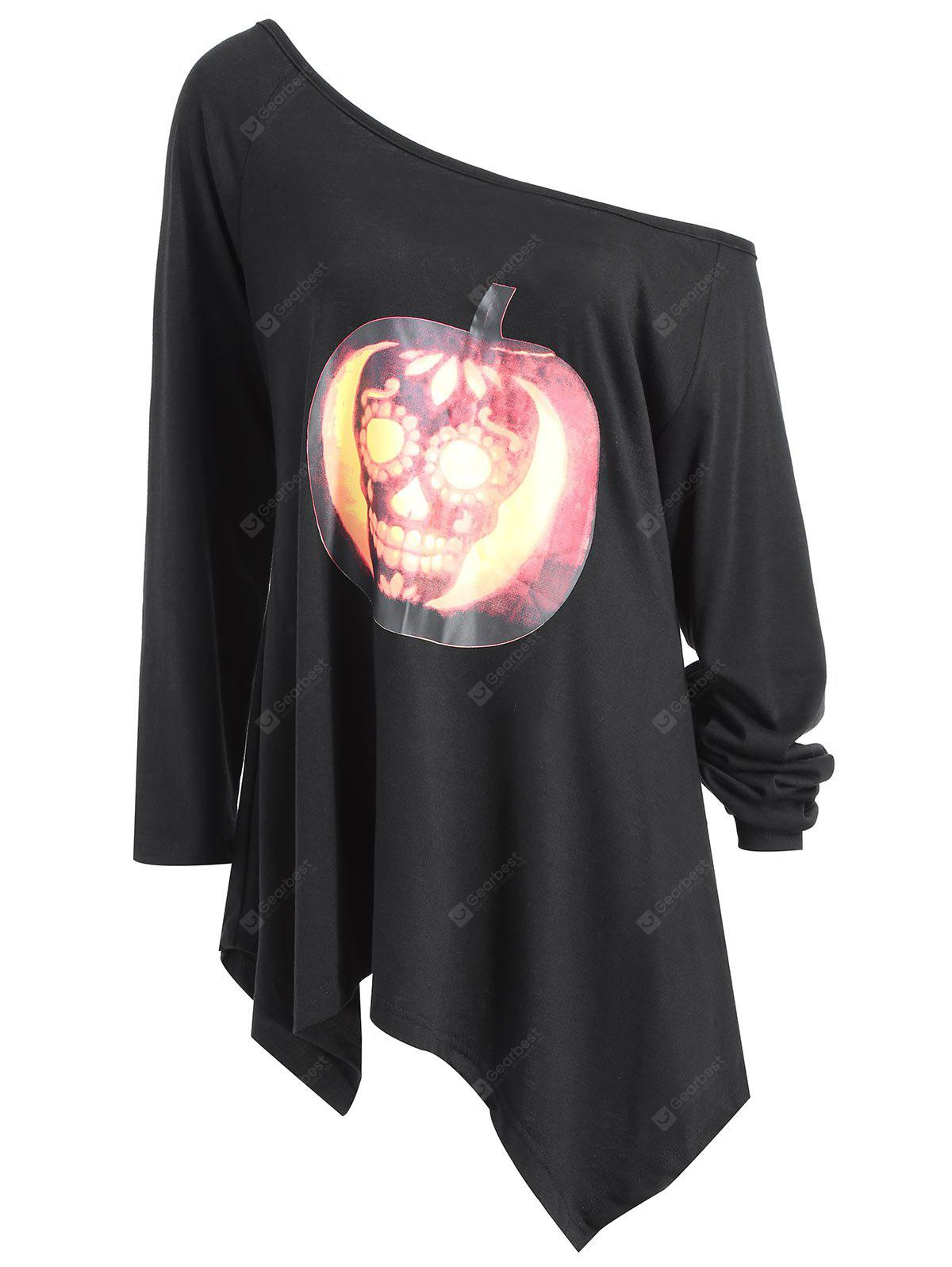 Plus Size Halloween Pumpkin Skull Asymmetrical T-shirt