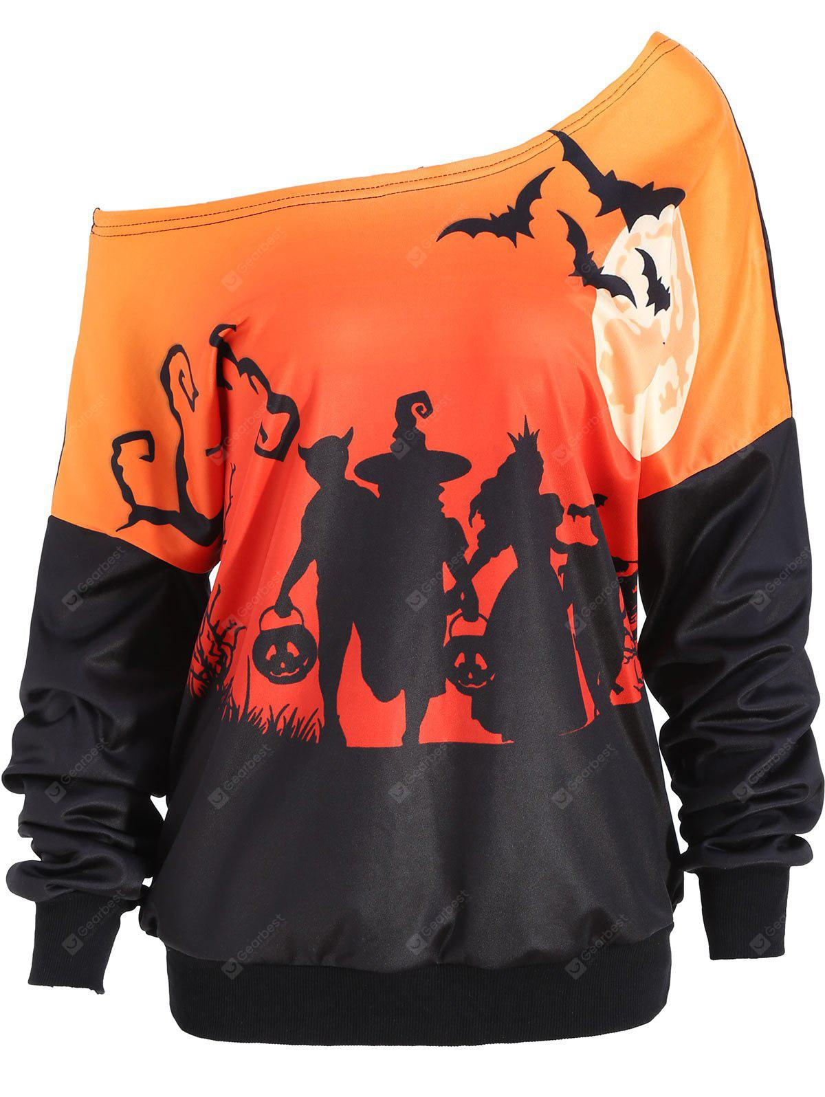 Halloween Moon Bat Print Skew Neck Sweatshirt