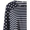 Plus Size Striped Polka Dot T-shirt - BLACK