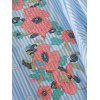 Stripes Floral Embroidered Bowknot Shirt - STRIPE