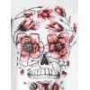 Plus Size Halloween Skull Floral Print T-shirt - WHITE