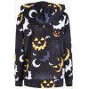 Más tamaño Halloween Bat Pumpkin Impreso Zip Hooded Jacket - NEGRO