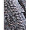 Checked One Buttoned Long Sleeve Coat - BLACK