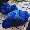 Bowknot Open Toe House Fluffy Slippers - BLUE