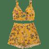 Floral Cut Out Top with Shorts Set - GINGER