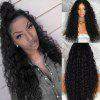 Long Free Part Fluffy Water Wave Lace Front Synthetic Wig - BLACK