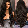 Long Free Part Fluffy Body Wave Lace Front Synthetic Wig - NATURAL BLACK