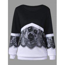 Plus Size Eyelash Lace Trim Two Tone Sweatshirt