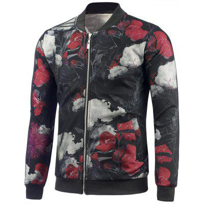 Casual Zip Up Floral Bomber Jacket