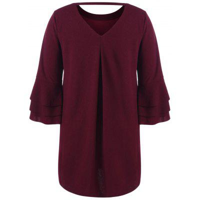 Layered Flare Sleeve Plus Size Tunic TopPlus Size Tops<br>Layered Flare Sleeve Plus Size Tunic Top<br><br>Collar: Round Neck<br>Material: Polyester, Spandex<br>Package Contents: 1 x Top<br>Pattern Type: Solid<br>Season: Fall, Spring<br>Shirt Length: Long<br>Sleeve Length: Three Quarter<br>Style: Fashion<br>Weight: 0.5700kg