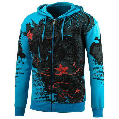 Plus Size Zip Up Printed Hoodie