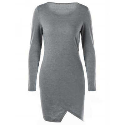Overlap Long Sleeve Fitted Jersey Dress